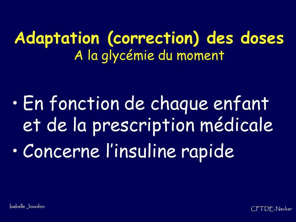 Isabelle Jourdon CFTDE-Necker En fonction de chaque enfant et de la prescription médicale Concerne linsuline rapide Adaptation (correction) des doses
