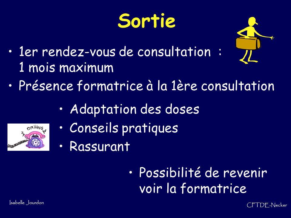 Isabelle Jourdon CFTDE-Necker Sortie 1er rendez-vous de consultation : 1 mois maximum Présence formatrice à la 1ère consultation Adaptation des doses