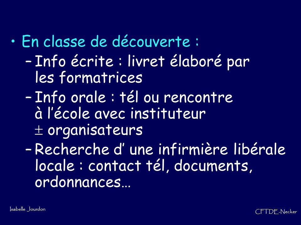 Isabelle Jourdon CFTDE-Necker En classe de découverte : –Info écrite : livret élaboré par les formatrices –Info orale : tél ou rencontre à lécole avec
