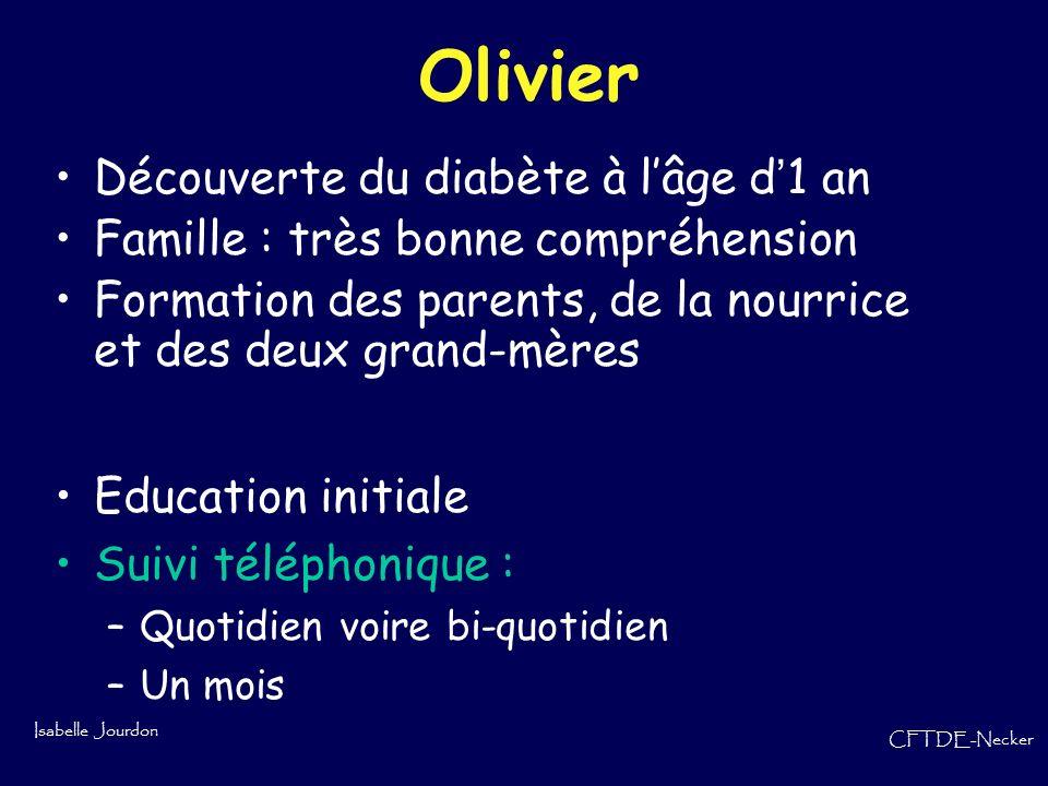 Isabelle Jourdon CFTDE-Necker Olivier Découverte du diabète à lâge d 1 an Famille : très bonne compréhension Formation des parents, de la nourrice et