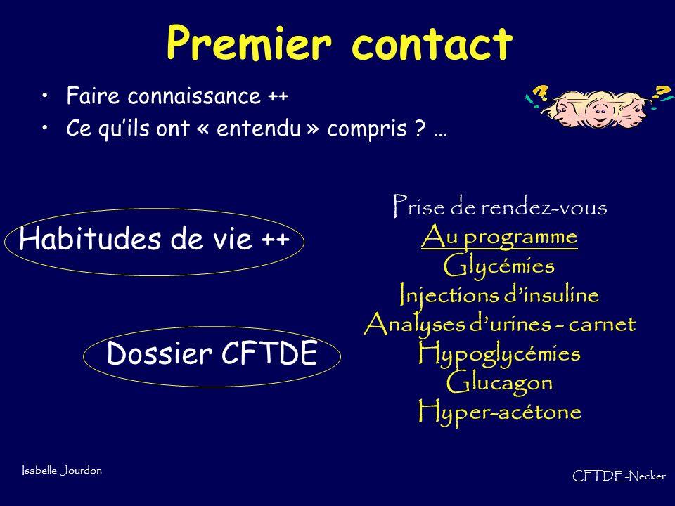 Isabelle Jourdon CFTDE-Necker Premier contact Faire connaissance ++ Ce quils ont « entendu » compris ? … Prise de rendez-vous Au programme Glycémies I