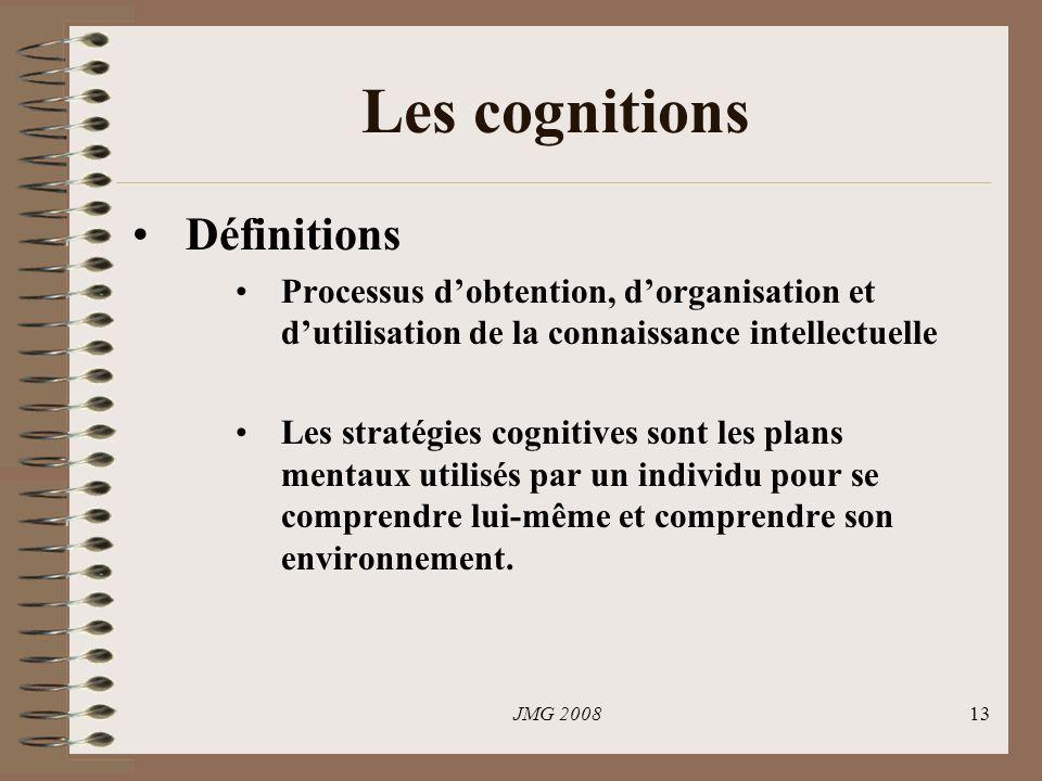 JMG 200813 Les cognitions Définitions Processus dobtention, dorganisation et dutilisation de la connaissance intellectuelle Les stratégies cognitives sont les plans mentaux utilisés par un individu pour se comprendre lui-même et comprendre son environnement.