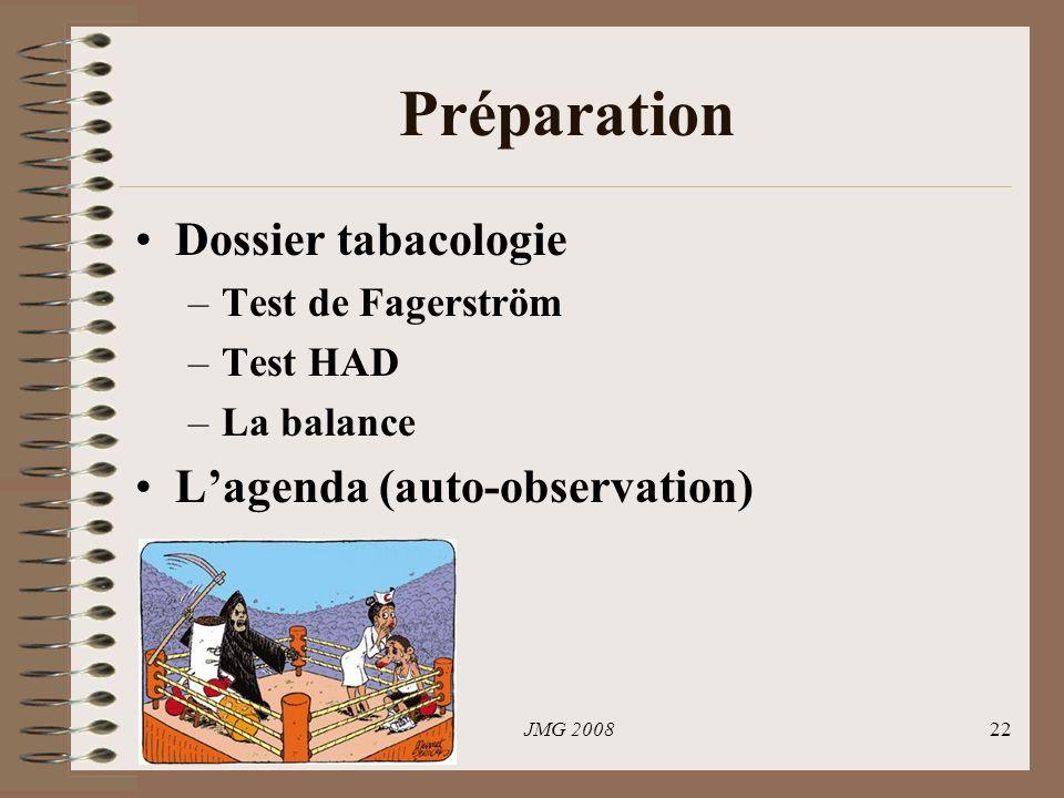 JMG 200822 Préparation Dossier tabacologie –Test de Fagerström –Test HAD –La balance Lagenda (auto-observation)