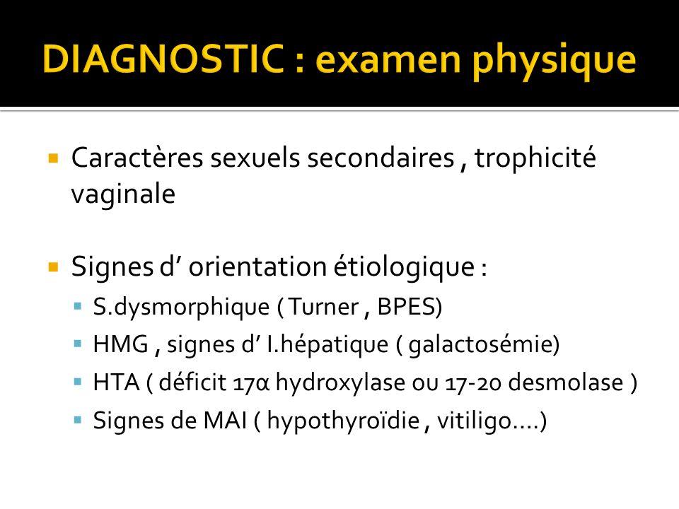 Caractères sexuels secondaires, trophicité vaginale Signes d orientation étiologique : S.dysmorphique ( Turner, BPES) HMG, signes d I.hépatique ( gala
