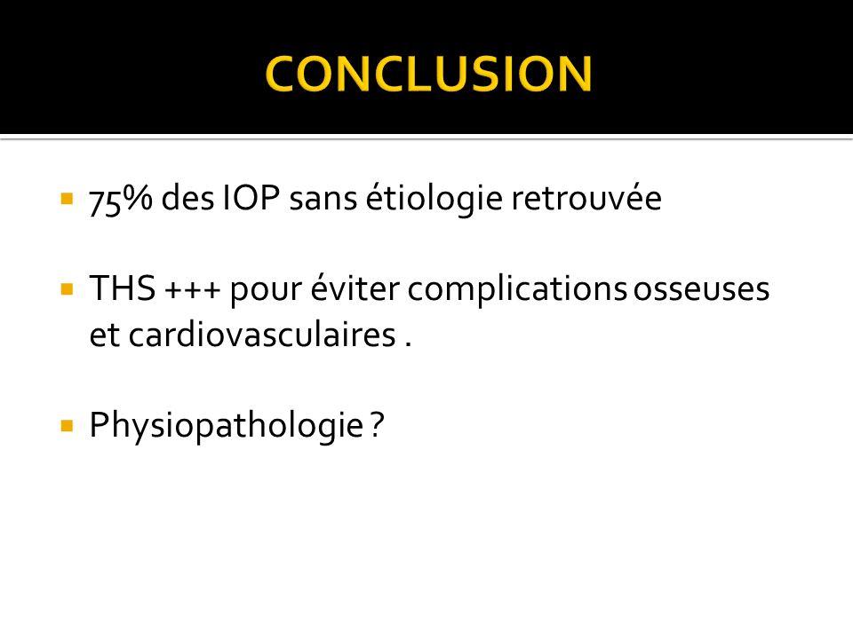 75% des IOP sans étiologie retrouvée THS +++ pour éviter complications osseuses et cardiovasculaires. Physiopathologie ?