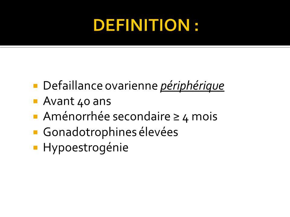 Defaillance ovarienne périphérique Avant 40 ans Aménorrhée secondaire 4 mois Gonadotrophines élevées Hypoestrogénie