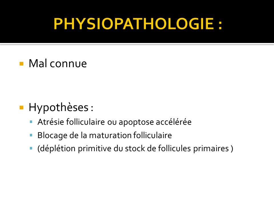 Mal connue Hypothèses : Atrésie folliculaire ou apoptose accélérée Blocage de la maturation folliculaire (déplétion primitive du stock de follicules p