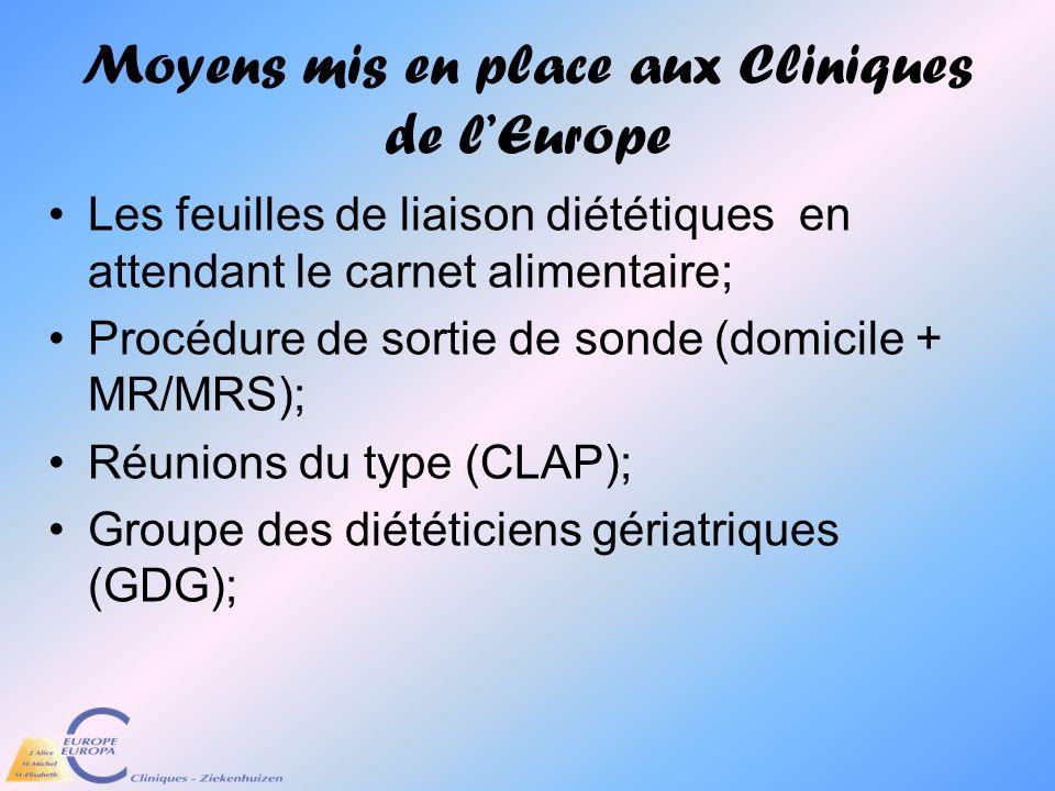 Moyens mis en place aux Cliniques de lEurope Les feuilles de liaison diététiques en attendant le carnet alimentaire; Procédure de sortie de sonde (dom