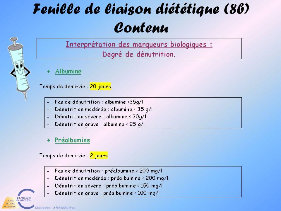 Feuille de liaison diététique (8b) Contenu