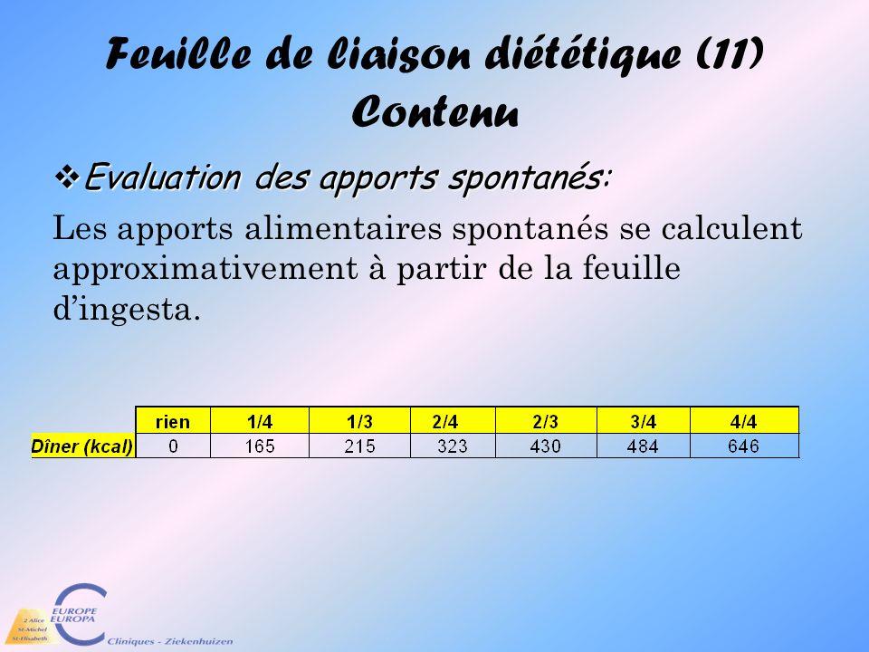 Feuille de liaison diététique (11) Contenu Evaluation des apports spontanés: Evaluation des apports spontanés: Les apports alimentaires spontanés se c