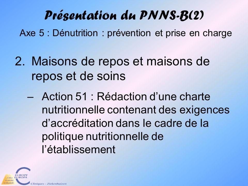 Présentation du PNNS-B(2) Axe 5 : Dénutrition : prévention et prise en charge 2.Maisons de repos et maisons de repos et de soins –Action 51 : Rédactio