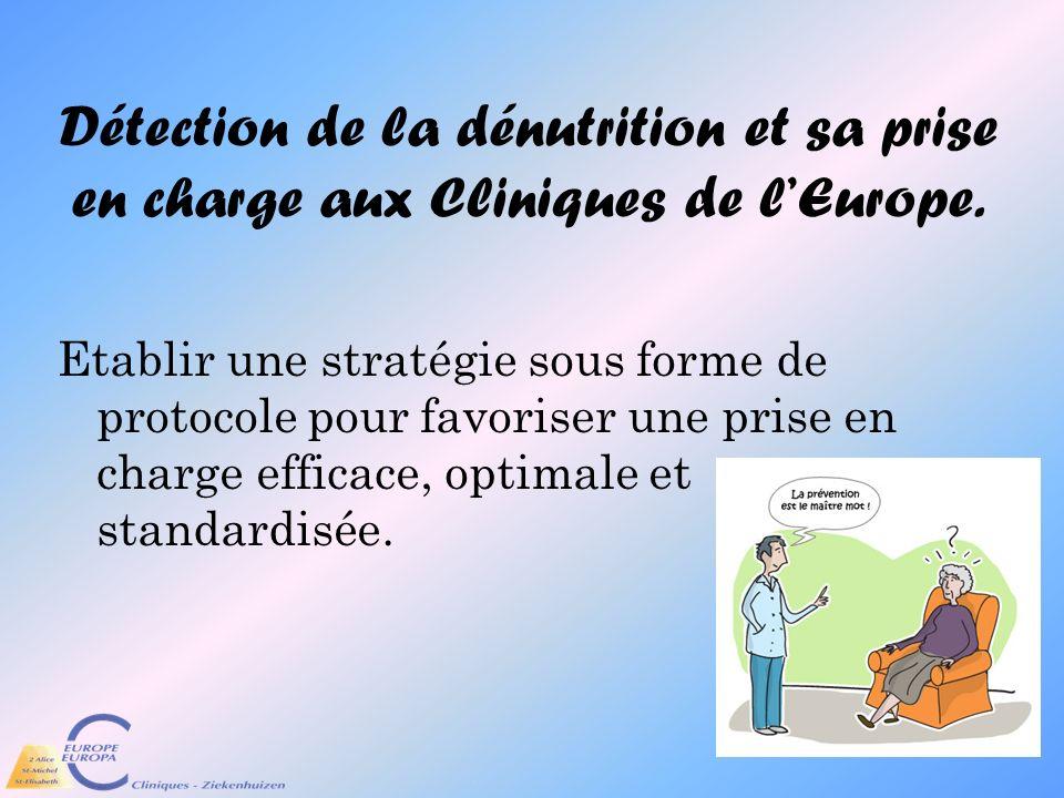 Détection de la dénutrition et sa prise en charge aux Cliniques de lEurope. Etablir une stratégie sous forme de protocole pour favoriser une prise en