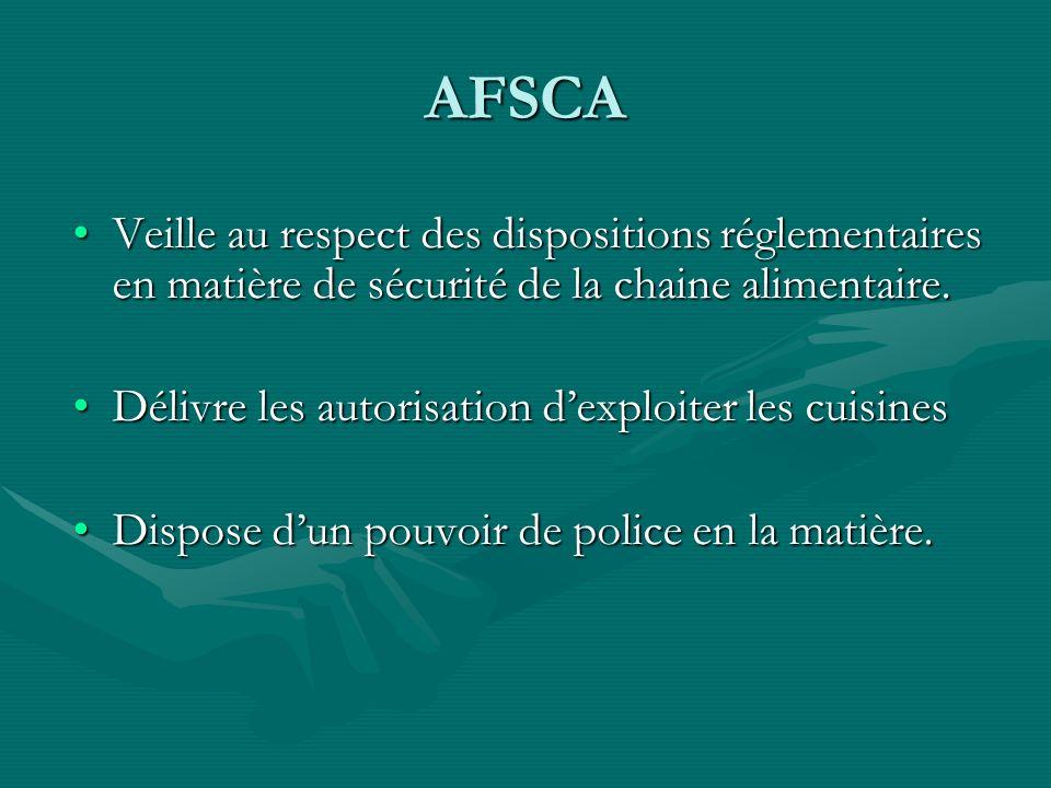 AFSCA Veille au respect des dispositions réglementaires en matière de sécurité de la chaine alimentaire.Veille au respect des dispositions réglementai