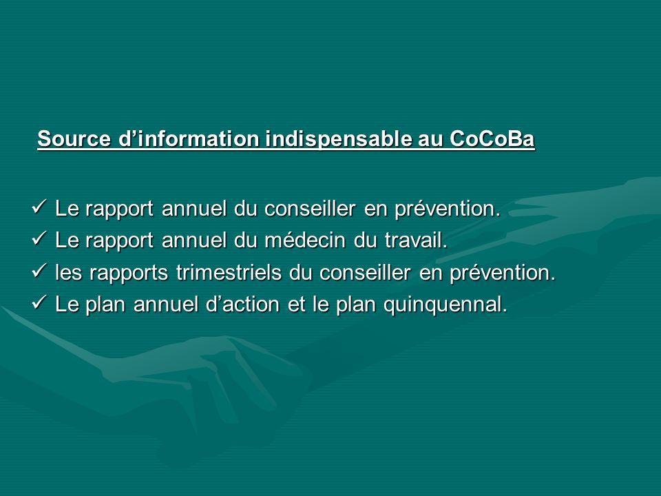 Source dinformation indispensable au CoCoBa Source dinformation indispensable au CoCoBa Le rapport annuel du conseiller en prévention. Le rapport annu