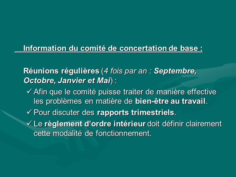Information du comité de concertation de base : Réunions régulières (4 fois par an : Septembre, Octobre, Janvier et Mai) : Afin que le comité puisse t