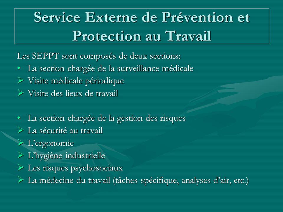 Service Externe de Prévention et Protection au Travail Les SEPPT sont composés de deux sections: La section chargée de la surveillance médicaleLa sect