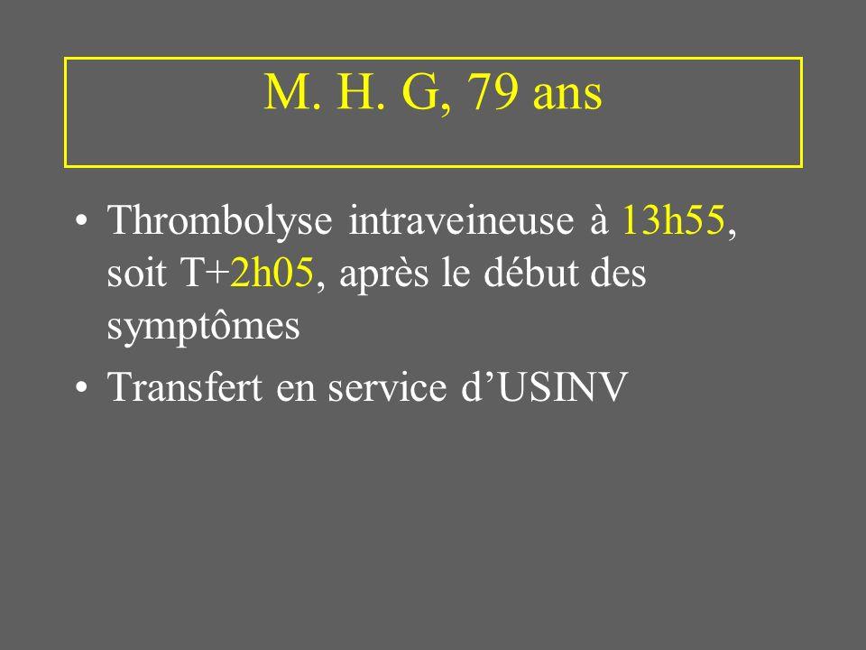 M. H. G, 79 ans Thrombolyse intraveineuse à 13h55, soit T+2h05, après le début des symptômes Transfert en service dUSINV