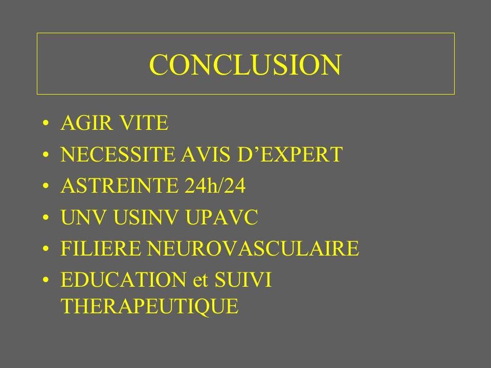 CONCLUSION AGIR VITE NECESSITE AVIS DEXPERT ASTREINTE 24h/24 UNV USINV UPAVC FILIERE NEUROVASCULAIRE EDUCATION et SUIVI THERAPEUTIQUE