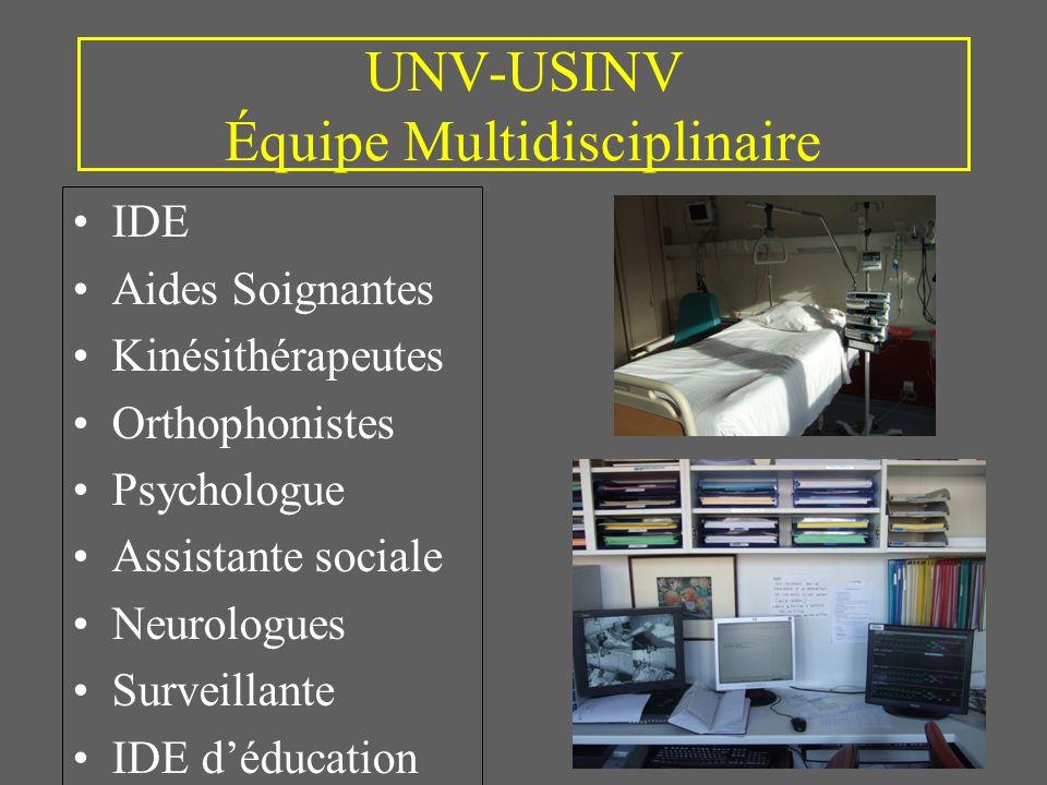 UNV-USINV Équipe Multidisciplinaire IDE Aides Soignantes Kinésithérapeutes Orthophonistes Psychologue Assistante sociale Neurologues Surveillante IDE déducation