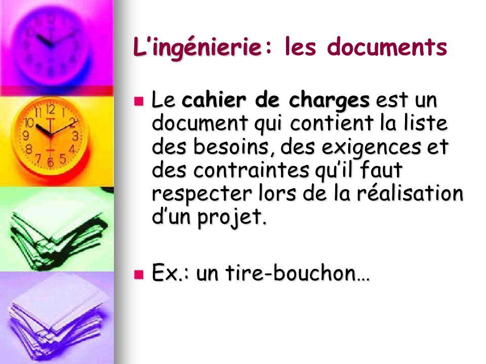 Lingénierie: les documents Le schéma de principe Le schéma de principe F F