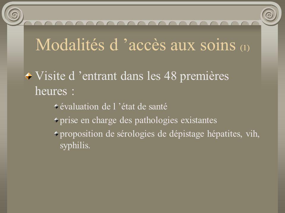 Modalités d accès aux soins (1) Visite d entrant dans les 48 premières heures : évaluation de l état de santé prise en charge des pathologies existant