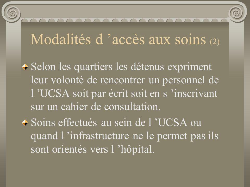 Modalités d accès aux soins (2) Selon les quartiers les détenus expriment leur volonté de rencontrer un personnel de l UCSA soit par écrit soit en s i