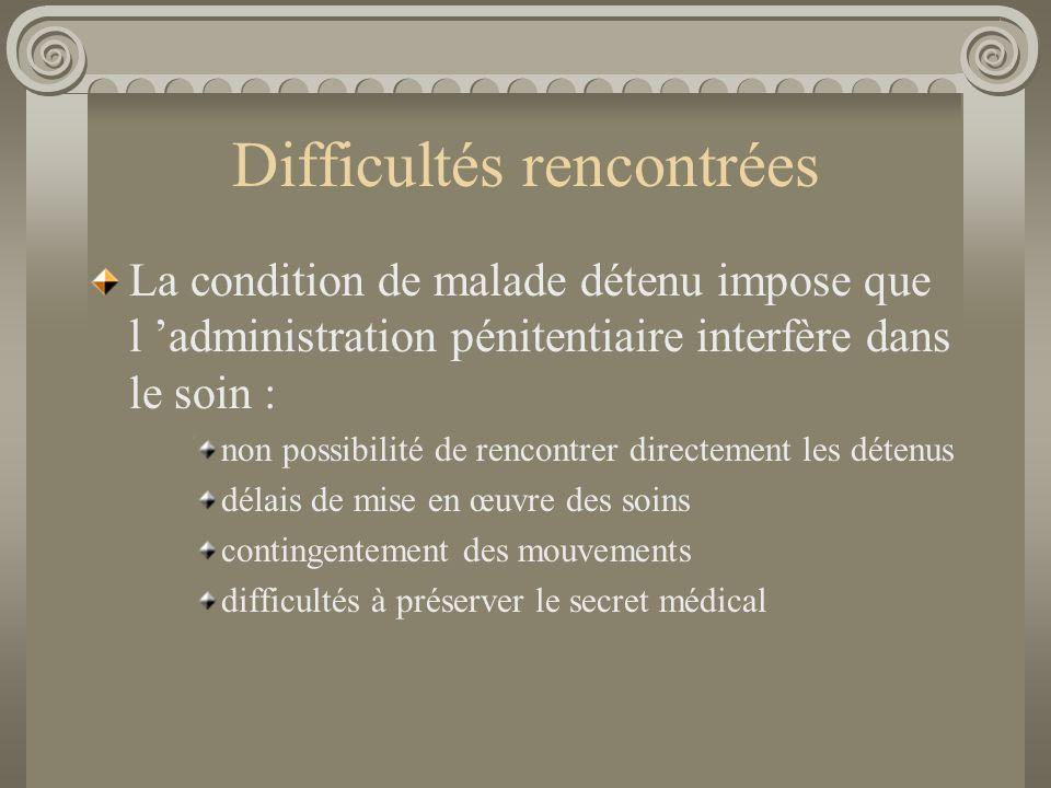 Difficultés rencontrées La condition de malade détenu impose que l administration pénitentiaire interfère dans le soin : non possibilité de rencontrer