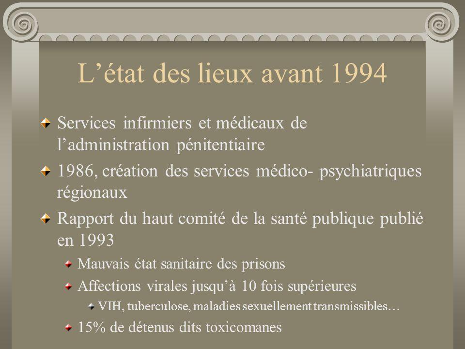 Létat des lieux avant 1994 Services infirmiers et médicaux de ladministration pénitentiaire 1986, création des services médico- psychiatriques régiona