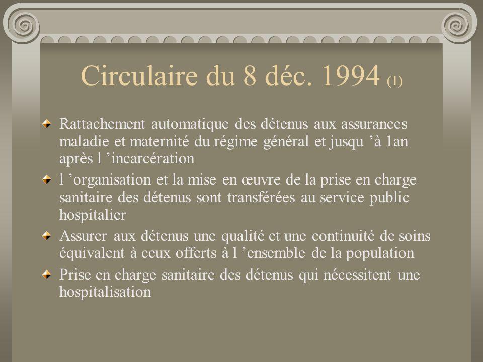 Circulaire du 8 déc. 1994 (1) Rattachement automatique des détenus aux assurances maladie et maternité du régime général et jusqu à 1an après l incarc