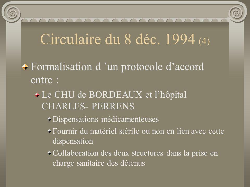 Circulaire du 8 déc. 1994 (4) Formalisation d un protocole daccord entre : Le CHU de BORDEAUX et lhôpital CHARLES- PERRENS Dispensations médicamenteus