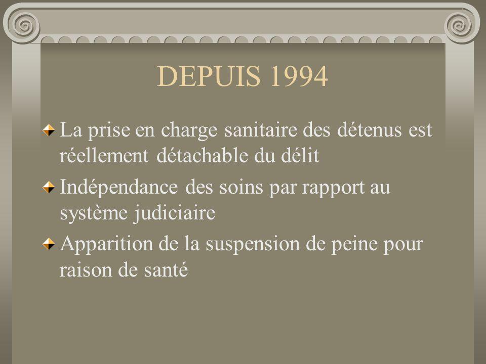 DEPUIS 1994 La prise en charge sanitaire des détenus est réellement détachable du délit Indépendance des soins par rapport au système judiciaire Appar