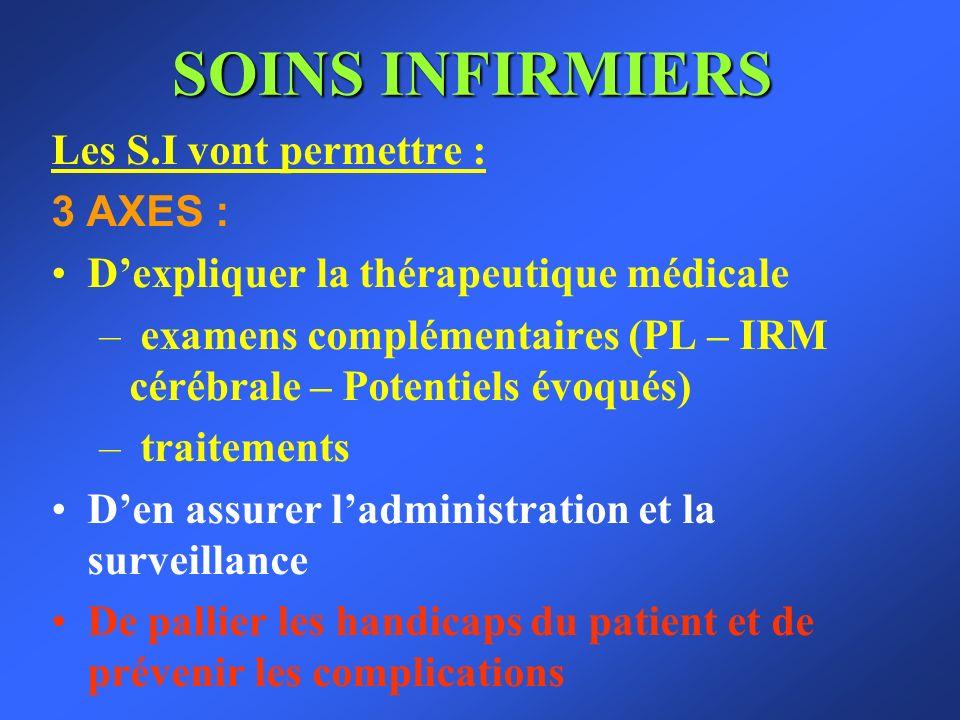 SOINS INFIRMIERS Les S.I vont permettre : 3 AXES : Dexpliquer la thérapeutique médicale – examens complémentaires (PL – IRM cérébrale – Potentiels évo