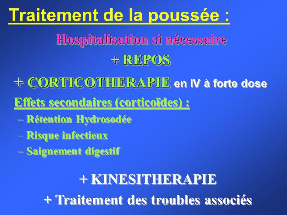 Traitement de la poussée : Hospitalisation si nécessaire + REPOS + CORTICOTHERAPIE + CORTICOTHERAPIE en IV à forte dose Effets secondaires (corticoïde