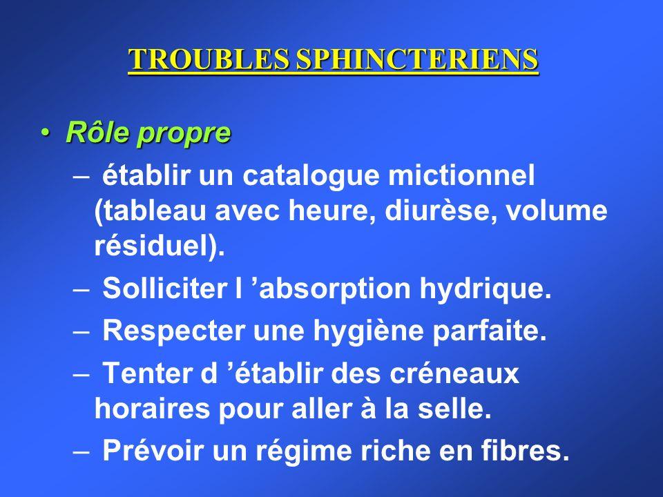 TROUBLES SPHINCTERIENS Rôle propreRôle propre – établir un catalogue mictionnel (tableau avec heure, diurèse, volume résiduel). – Solliciter l absorpt