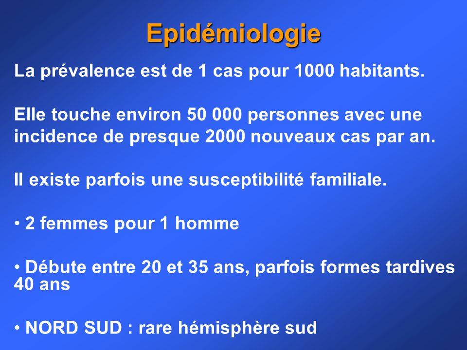La prévalence est de 1 cas pour 1000 habitants. Elle touche environ 50 000 personnes avec une incidence de presque 2000 nouveaux cas par an. Il existe