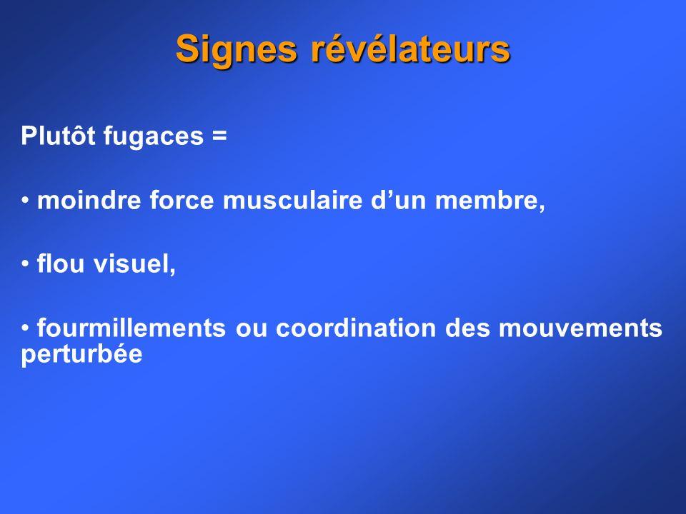 Plutôt fugaces = moindre force musculaire dun membre, flou visuel, fourmillements ou coordination des mouvements perturbée Signes révélateurs