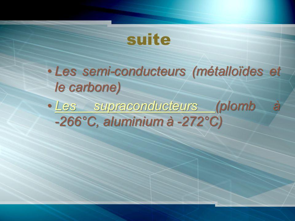 suite Les semi-conducteurs (métalloïdes et le carbone)Les semi-conducteurs (métalloïdes et le carbone) Les supraconducteurs (plomb à -266°C, aluminium