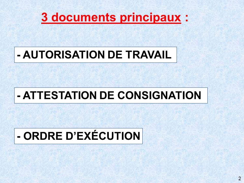 2 - AUTORISATION DE TRAVAIL - ATTESTATION DE CONSIGNATION - ORDRE DEXÉCUTION 3 documents principaux :
