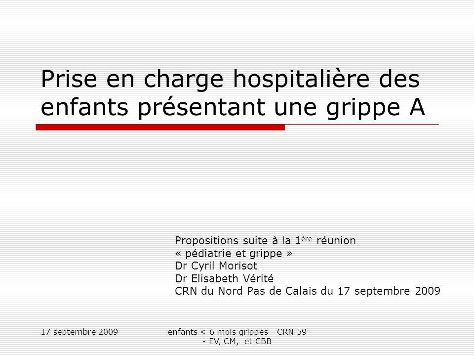 17 septembre 2009enfants < 6 mois grippés - CRN 59 - EV, CM, et CBB Objectif de la réunion du faire le bilan des consultations dédiées aux enfants envisager lorganisation pour la prise en charge hospitalière des enfants en période de pandémie