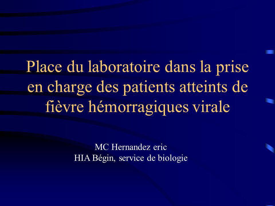 Place du laboratoire dans la prise en charge des patients atteints de fièvre hémorragiques virale MC Hernandez eric HIA Bégin, service de biologie