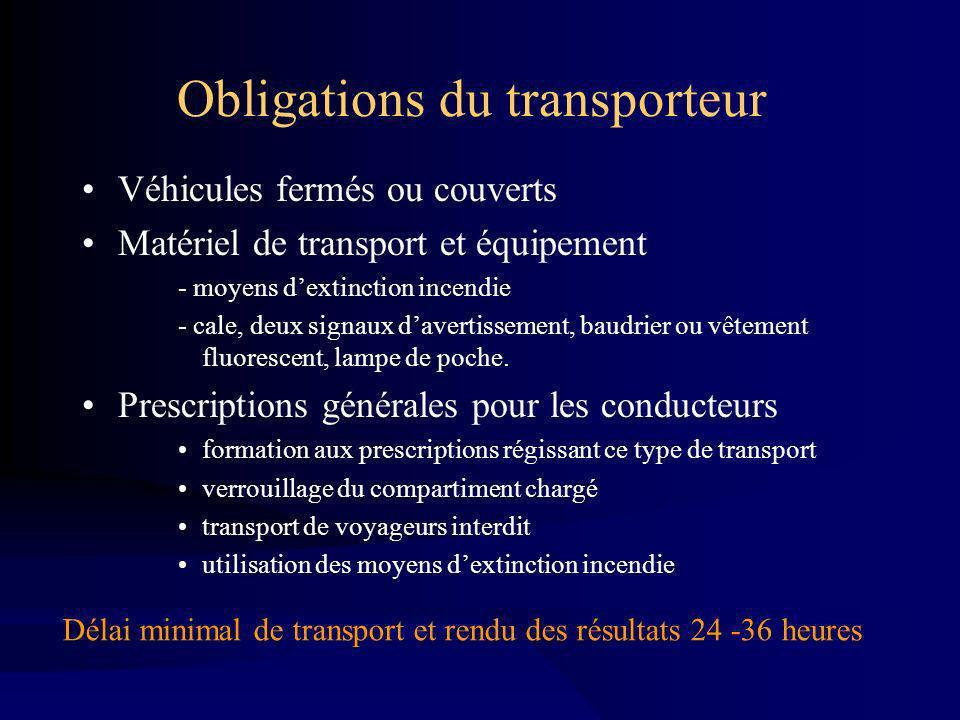 Obligations du transporteur Véhicules fermés ou couverts Matériel de transport et équipement - moyens dextinction incendie - cale, deux signaux davertissement, baudrier ou vêtement fluorescent, lampe de poche.