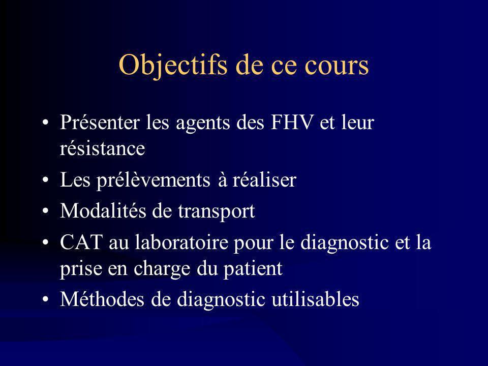 Objectifs de ce cours Présenter les agents des FHV et leur résistance Les prélèvements à réaliser Modalités de transport CAT au laboratoire pour le diagnostic et la prise en charge du patient Méthodes de diagnostic utilisables