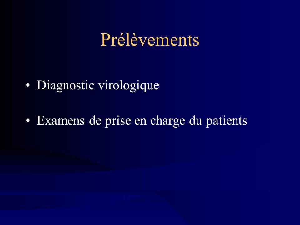 Prélèvements Diagnostic virologique Examens de prise en charge du patients