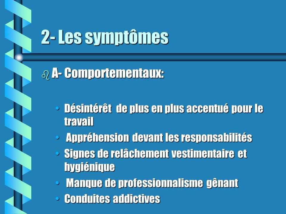 2- Les symptômes b A- Comportementaux: Désintérêt de plus en plus accentué pour le travailDésintérêt de plus en plus accentué pour le travail Appréhen