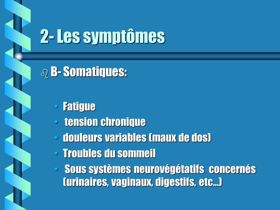 2- Les symptômes b B- Somatiques: FatigueFatigue tension chronique tension chronique douleurs variables (maux de dos)douleurs variables (maux de dos)