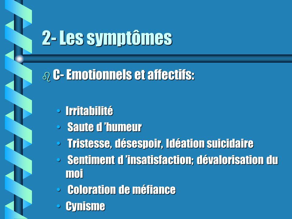 2- Les symptômes b C- Emotionnels et affectifs: IrritabilitéIrritabilité Saute d humeur Saute d humeur Tristesse, désespoir, Idéation suicidaire Trist