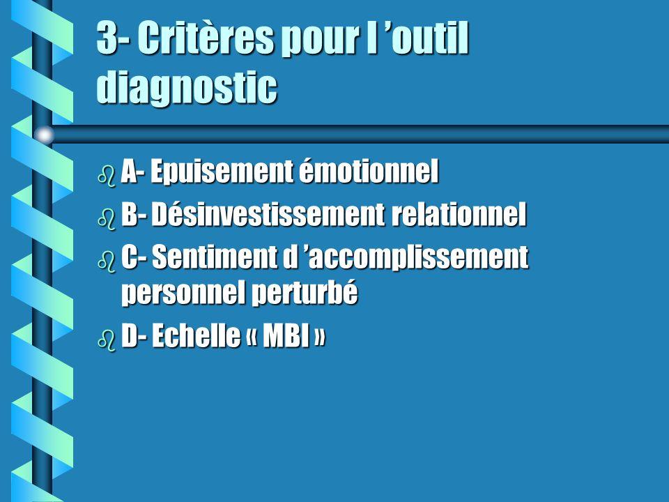 3- Critères pour l outil diagnostic b A- Epuisement émotionnel b B- Désinvestissement relationnel b C- Sentiment d accomplissement personnel perturbé