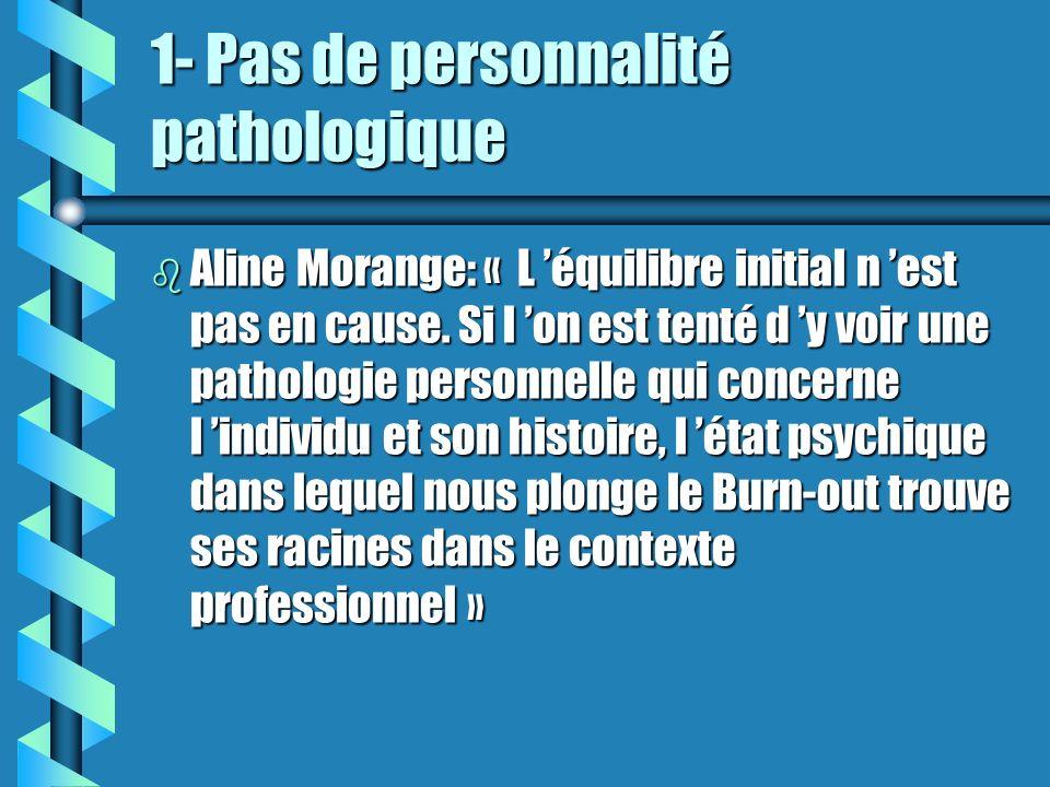 1- Pas de personnalité pathologique b Aline Morange: « L équilibre initial n est pas en cause. Si l on est tenté d y voir une pathologie personnelle q