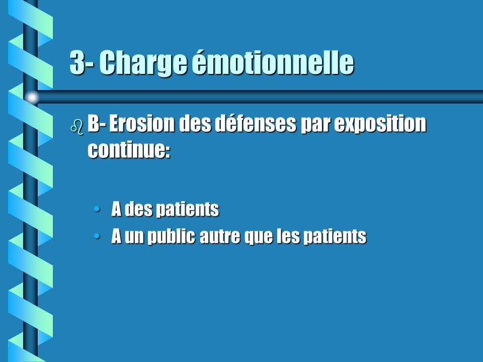 3- Charge émotionnelle b B- Erosion des défenses par exposition continue: A des patients A des patients A un public autre que les patients A un public
