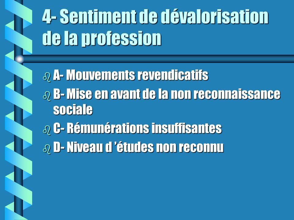 4- Sentiment de dévalorisation de la profession b A- Mouvements revendicatifs b B- Mise en avant de la non reconnaissance sociale b C- Rémunérations i